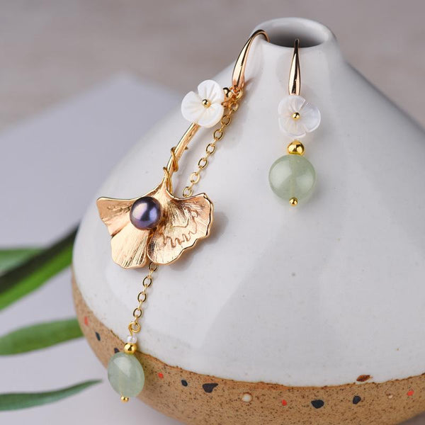 Asymmetric Ginkgo Gold Plated Drop Earrings