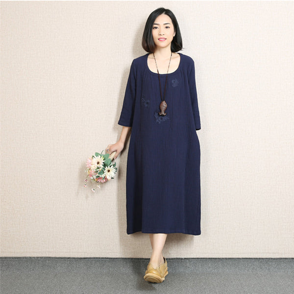 Women Casual Loose Cotton Linen Spring Dress