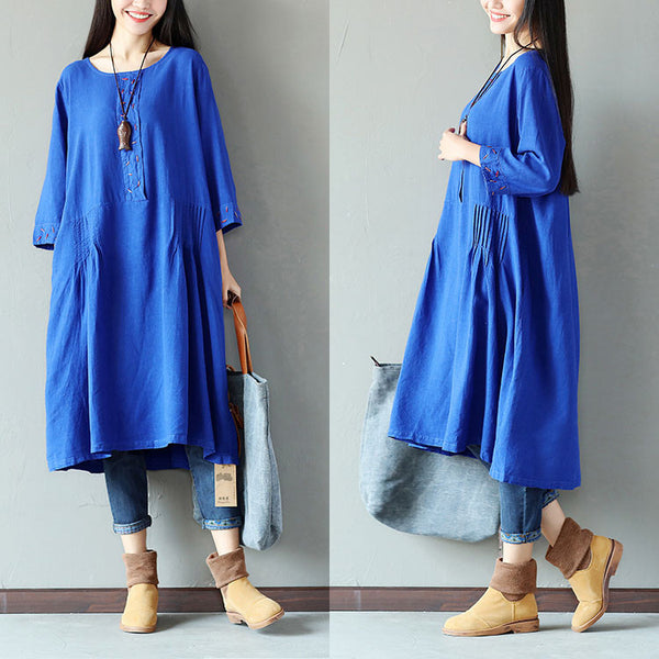 Folded Women Cotton Loose Casual Blue Dress