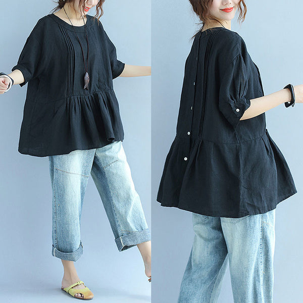 Folded Women Loose Casual Cotton Summer Black Shirt