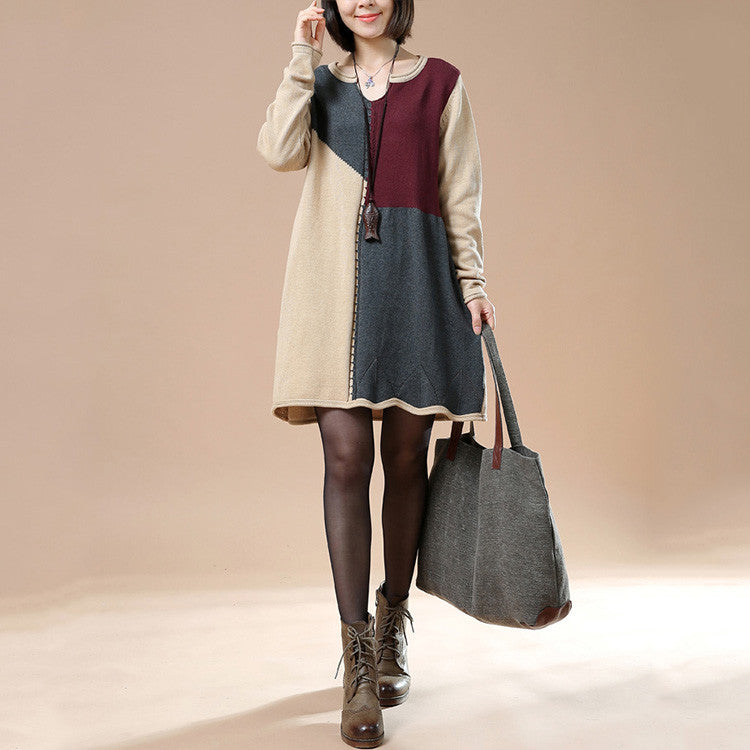 Autumn Long Sleeve Retro Stitching Loose Sweater