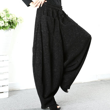 Buykud Solid Color Thick Warm Loose Casual Pants