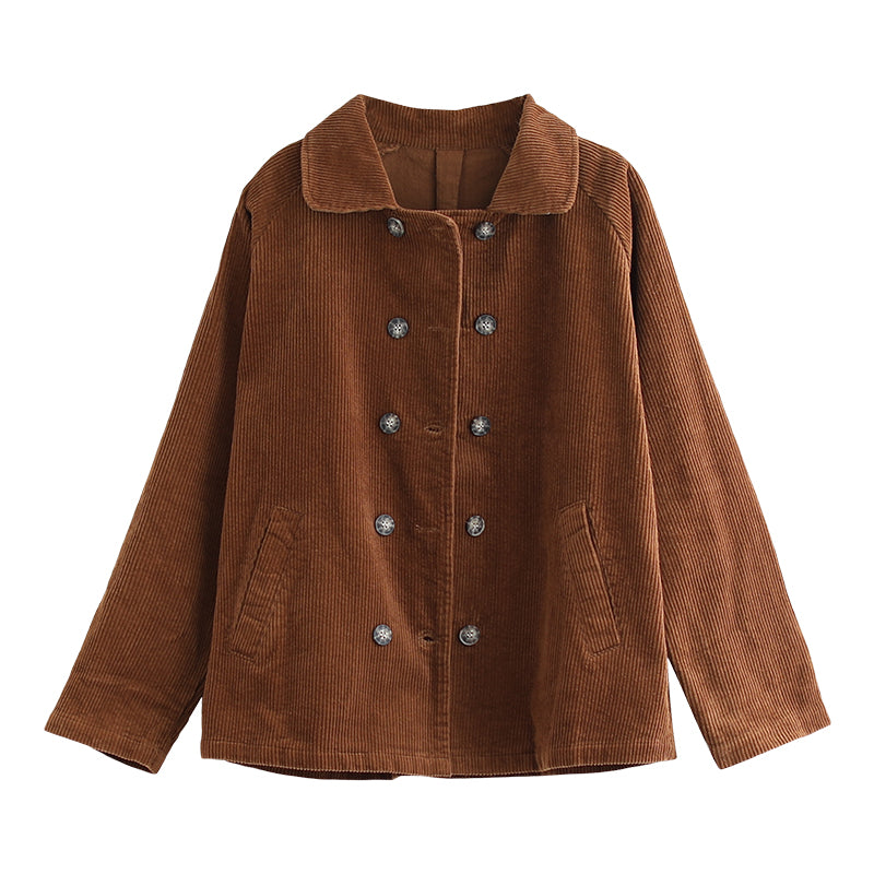 Buykud Double Breasted Pure Color Casual Coat