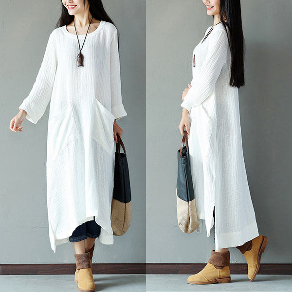 Retro Women Cotton Splitting Loose Casual White Dress
