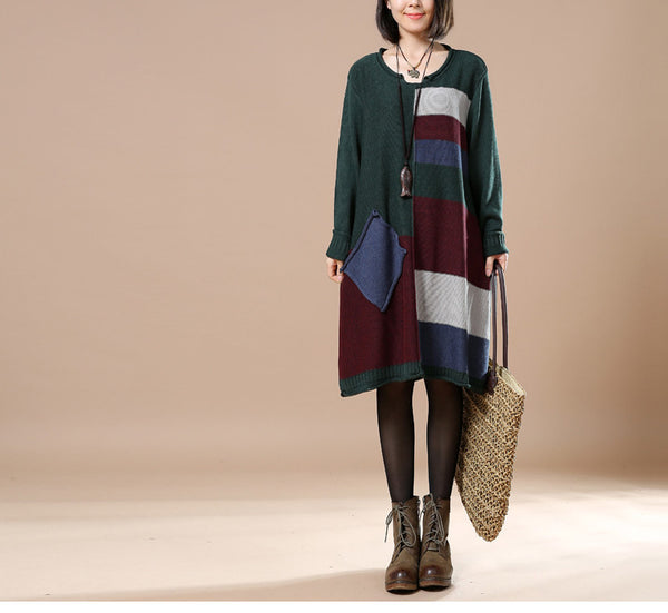 Green Women Loose Autumn Knitted Sweater