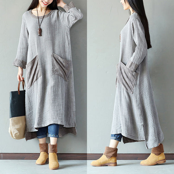 Retro Women Cotton Splitting Loose Casual Gray Dress