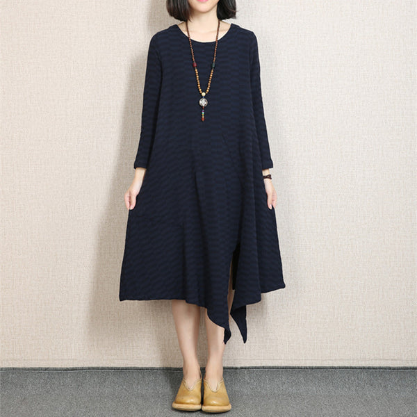 Women Casual Loose Cotton Linen  Spring And Autumn Dress Blue