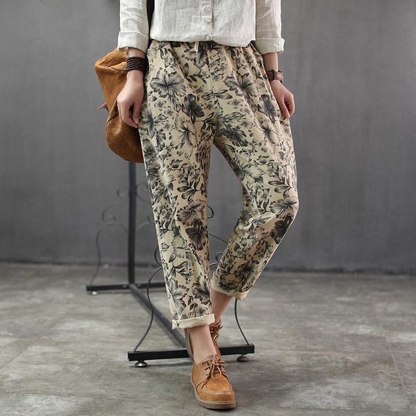 Cotton Women Retro Print Harem Pants