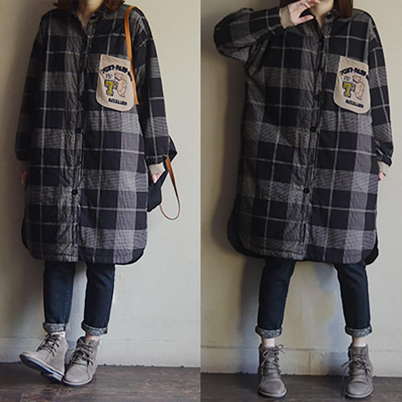 Cotton Single Breasted Plaid Long Shirt