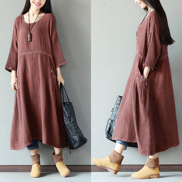 Retro String Pocket Women Brown Dress - Buykud
