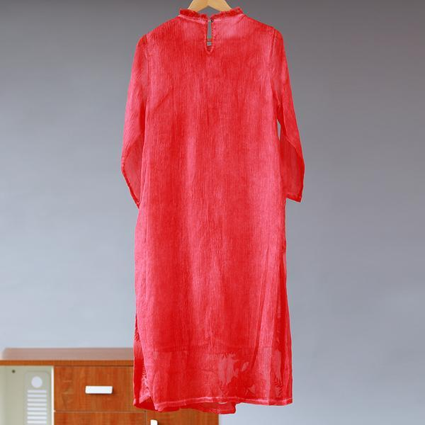 Embroidery Silk Floss Elegant Long Sleeve Dress