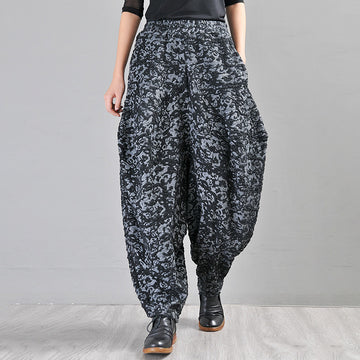 Buykud Autumn Winter Loose Jacquard Harem Pants