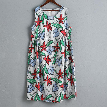 Casual Women Printing Floral Summer Dress