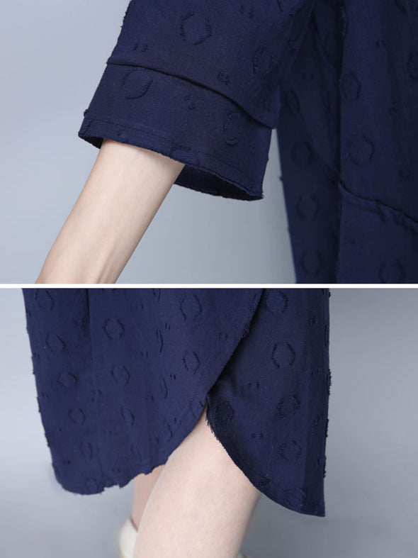 Casual Irregular Women Cotton Navy Blue Long Shirt - Buykud