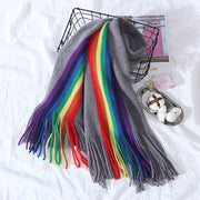 Buykud Colorful Stripes Thick Warm Tassel Shawl