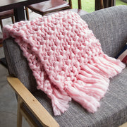 Woven Tassel Artificial Wool Soft Thick Blanket