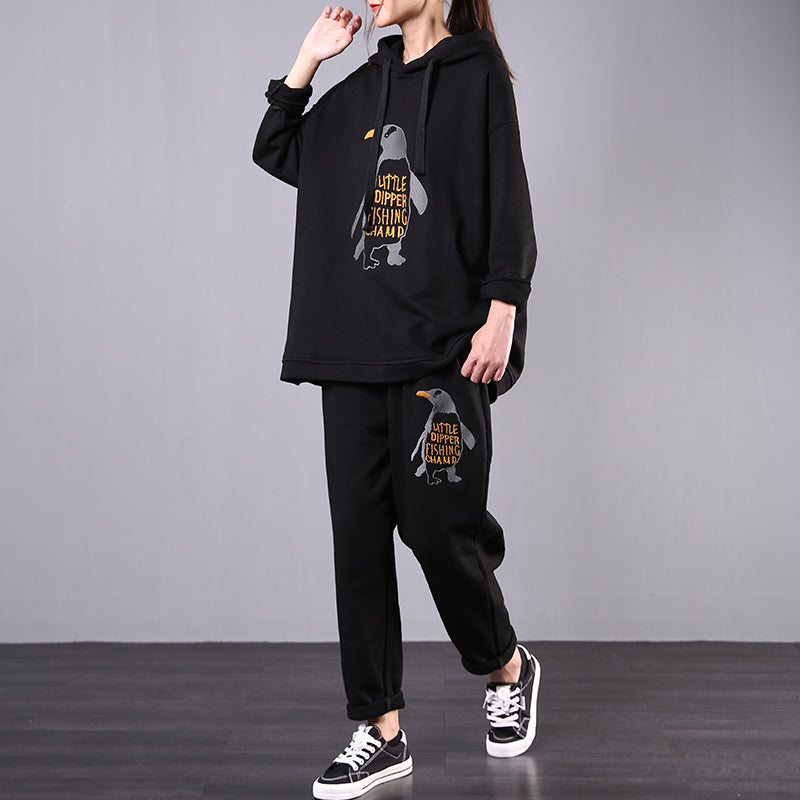 Buykud Penguin Embroidery Casual Two Piece Suit