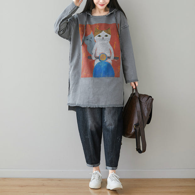 Buykud Cartoon Cats Fringed Hem Loose Hoodie