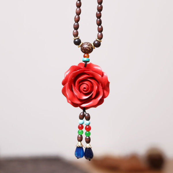 Wooden Casual Women Retro Rose Necklaces