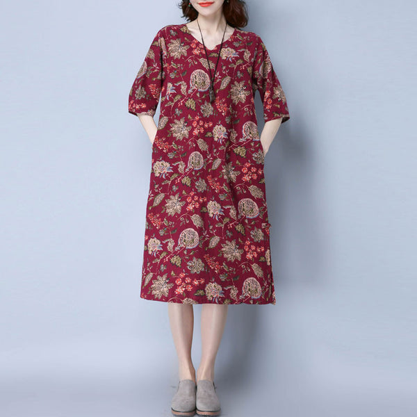 Printing Women V Neck Loose Purple Red Dress
