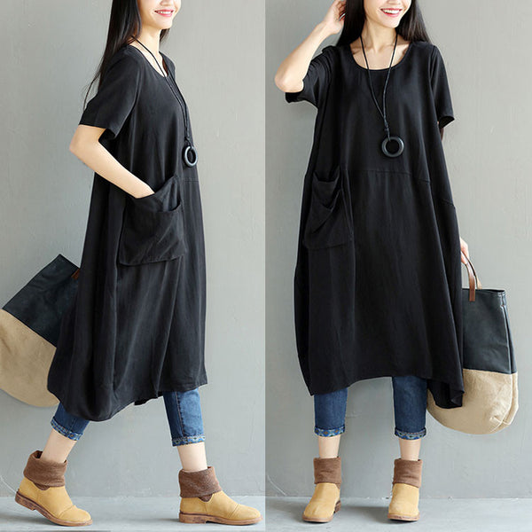 Loose Irregular Casual Pocket Women Dress