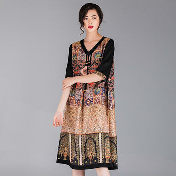 Ethnic Style Printed Elegant Women Dress