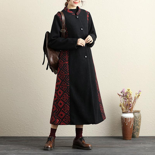 Button-Front Retro Long Sleeve Embroidery Pockets Coat