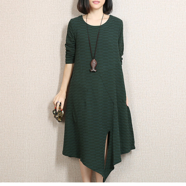 Women Casual Loose Cotton Linen  Spring And Autumn Dress Green