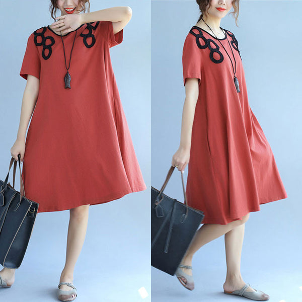 Simple Casual Summer Women Short Sleeves Red Dress