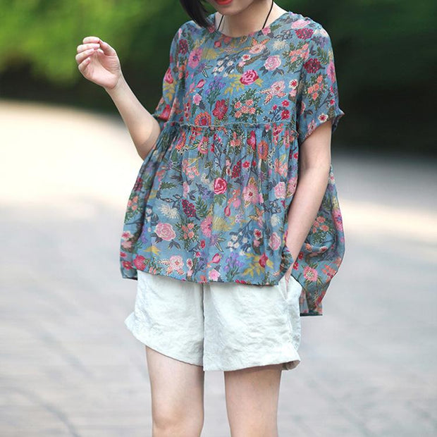 Floral Round Neck Short Sleeve Blouse