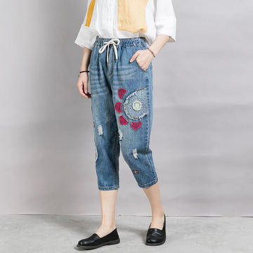 Casual Appliques Frayed Light Blue Jeans