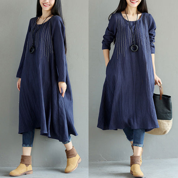 Stripe Women Casual Linen Loose Dress