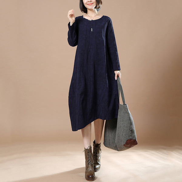 Navy Blue Autumn Big Large Long Sleeve Casual Round Neck Dress