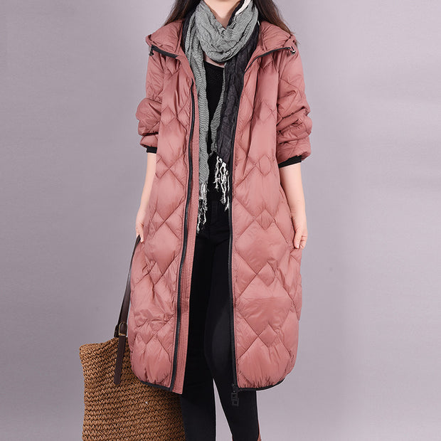 Buykud Autumn Winter Solid Color Warm Hooded Down Coat