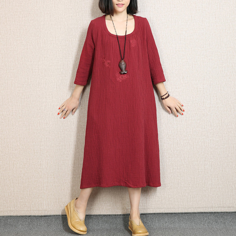 Women Casual Loose Cotton Linen Spring Dress Red - Buykud