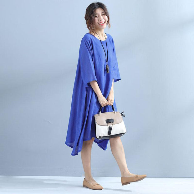 Casual Simple Loose Summer Women Blue Dress