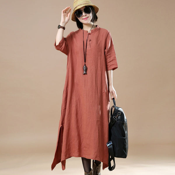 Women Irregular Loose Linen Red Dress