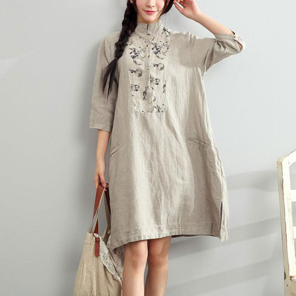 Floral Stand Collar  Linen Loose  Shirts