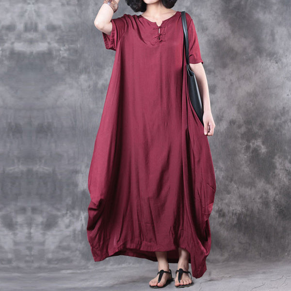 Loose Irregular Women Casual Retro Red Dress - Buykud