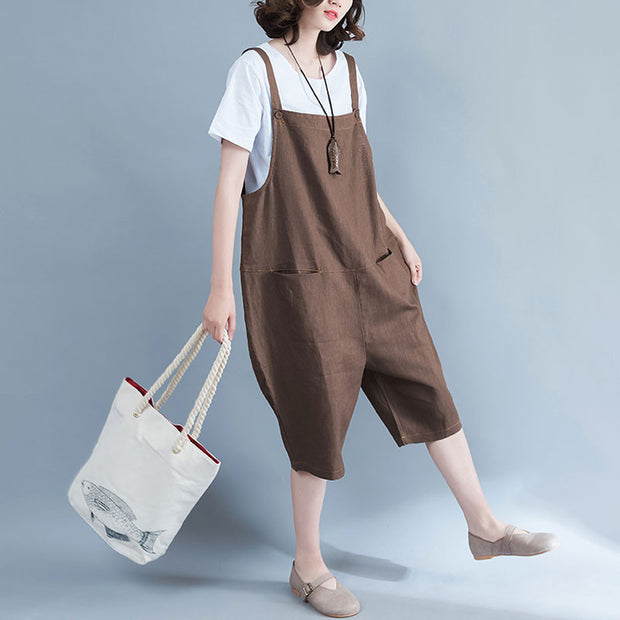 Women Linen Loose Casual Summer Plain Coffee Jumpsuit Pants - Buykud