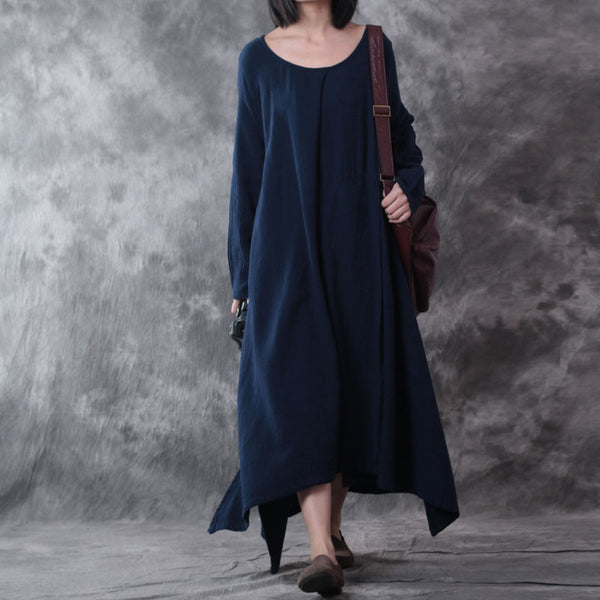 Spring Loose Linen Long Sleeves Gown Dress