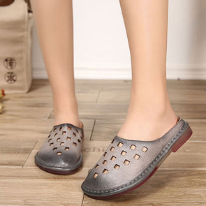 Summer Leather Slippers Women Hollowed Gray Shoes