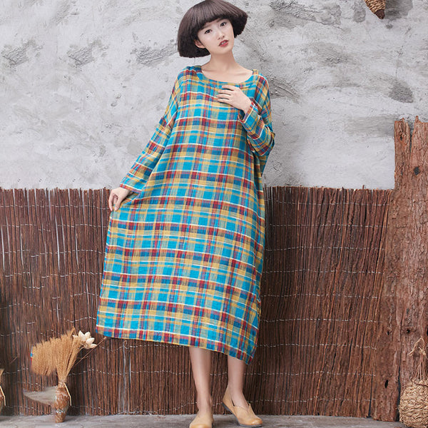 Classic Lattice Linen Loose Retro Women Dress - Buykud