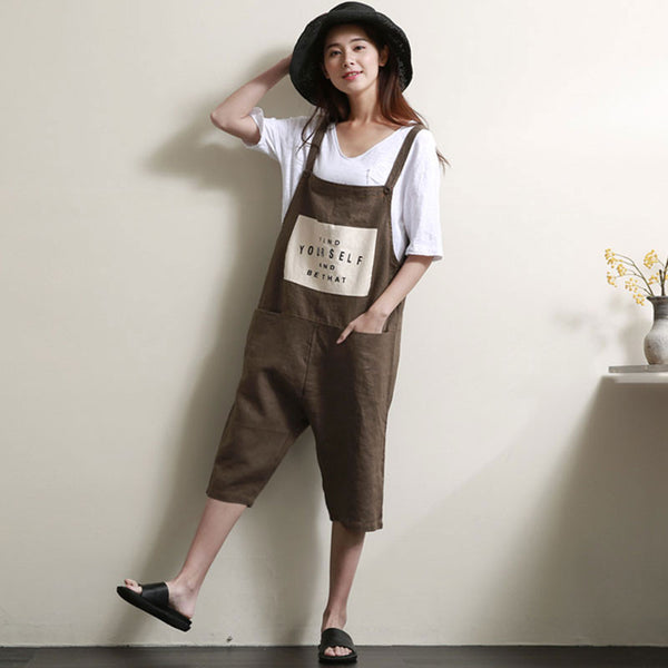 Women Loose Linen Coffee Overalls - Buykud