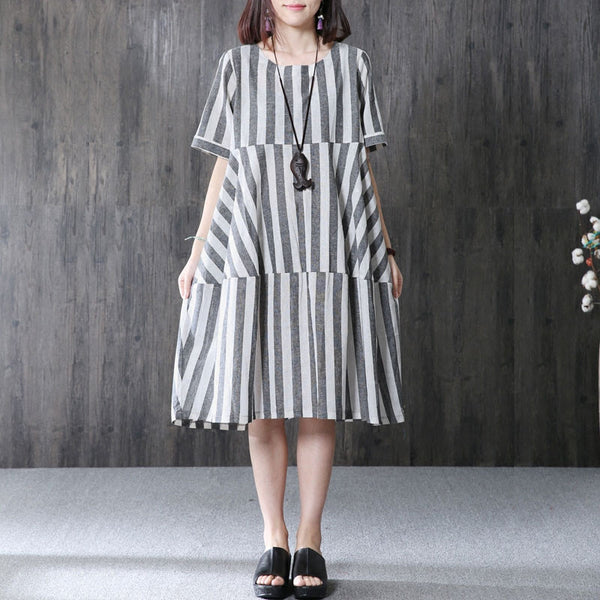 Splicing Stripe Women Summer Irregular Loose Cotton Linen Gray Dress