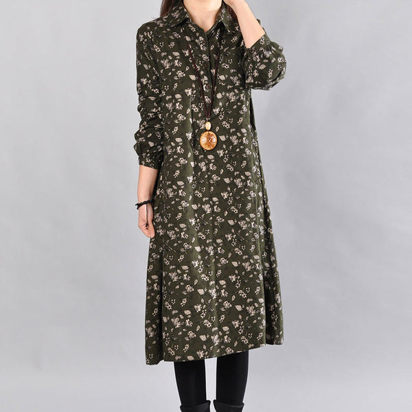 Spring Printing Casual Women Army Green Dress - Buykud
