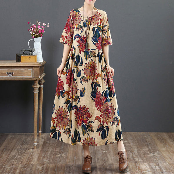 Women Ethnic Round Neck Short Sleeve Printed Dress - Buykud