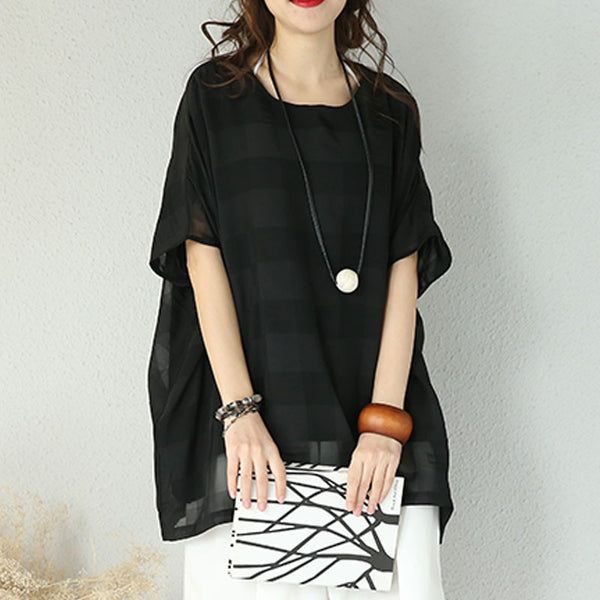 Loose Round Neck Elbow Sleeve Shirt