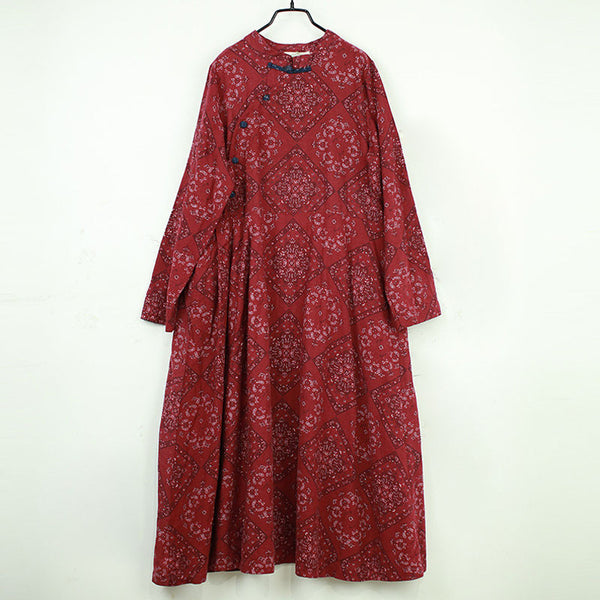 Ethnic Style Printing Retro Dark Red Dress