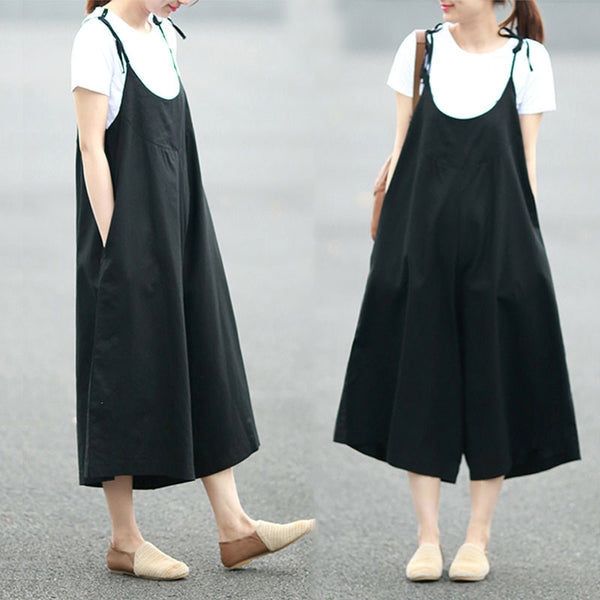 Loose Summer Casual Women Linen Plain Black Jumpsuit Pants - Buykud